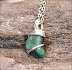 Natural Jade Necklace  Wire Wrapped Stone by MermaidTearsDesigns