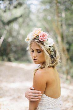 Elegant embroidered lace wedding dress with racer neck-line and open back detail, halter neck detail via Etsy