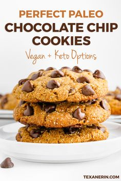 Perfect Paleo Chocolate Chip Cookies have the most amazing texture. These delicious gluten-free cookies are nice thick and chewy. Grab this healthy dessert recipe and try these cookies for you and your family today! Paleo Dessert, Healthy Dessert Recipes, Easy Desserts, Real Food Recipes, Delicious Desserts, Healthy Snacks, Bar Recipes, Yummy Recipes, Keto Recipes