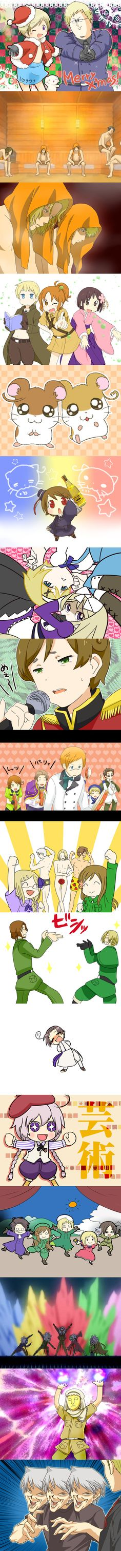 Axis Powers: Hetalia, Switzerland, New Zealand, Lithuania, Finland  #aph #hetalia #lol