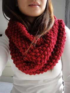 Brooke Chunky Infinity Scarf Cowl Cranberry Red by LuluLuvs, $50.00