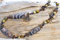 Agate Eye Beads Old Tibetan DZI Gemstone Necklace by LKArtChic