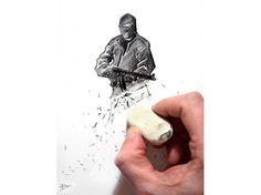 """""""Si seulement ça pouvait être aussi simple..."""", a écrit Grégory Delaunay en partageant ce dessin de sa main sur Facebook, après l'attentat."""