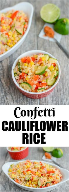 This vegan Confetti Cauliflower Rice is a healthy, gluten-free recipe seasoned with chili and lime. Serve it as a side dish or add some protein to turn it into a main dish for lunch or dinner.