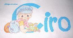 Continuamos esta semana con algo de punto cruz.     Por navidad me pidieron que hiciera un cuadro para un recién nacido. Como siempre con ... Alphabet, Monograms, Infant Dresses, Hipster Stuff, Pretty Pictures, Paint, Names