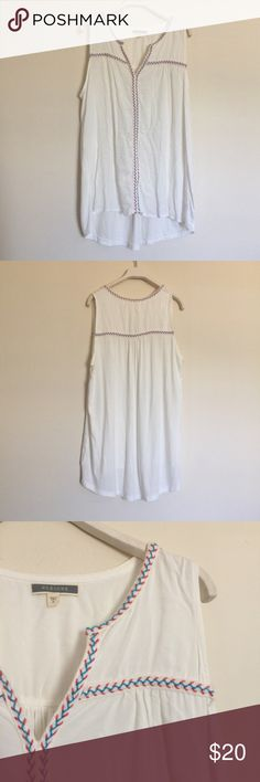 """Pleione white blue orange braided tunic tank small Pleione white blue orange braided tunic blouse, excellent condition. Braided front piping detail, V neck and sleeveless. Pit to pit 22"""", length front 27"""", back 32"""". 100% rayon. Anthropologie Tops Blouses"""