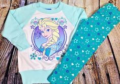 NWOT DISNEY FROZEN Elsa Two Piece Outfit Set Sz 2T Girls Sweatshirt Top Leggings #Disney #Everyday