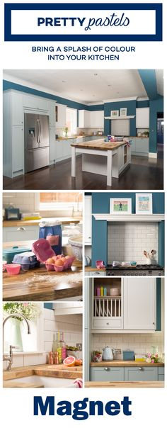 Bring a splash of colour into your kitchen with pretty pastel accessories, from retro art prints and fresh flowers to decorative packs of herbal tea on open front shelves. Kitchen Units, Old Kitchen, Kitchen Ideas, Kitchen Interior, Kitchen Design, House Essentials, Home Kitchens, Dream Kitchens, Home Hacks