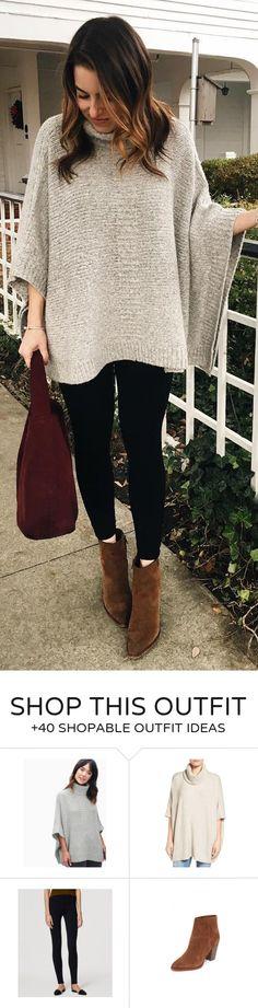 #winter #fashion /  Grey Knit / Black Leggings / Brown Booties