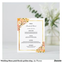 Shop Wedding Menu pink florals gold glam elegant created by Thunes. Wedding Menu Cards, Wedding Table Settings, Rose Gold Backgrounds, Vintage Logo Design, Rose Gold Pink, Unique Business Cards, Glamorous Wedding, Wedding Desserts, Wedding Flowers