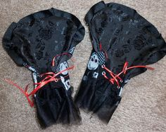 """""""Reversible Petal Gloves"""" Black Rose / Glitter Skull, by Cheyenne Hale (this pair is sold out)"""