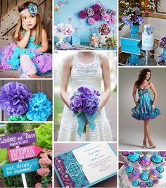 #TuFiestaTipBoda -Visualiza tu boda en colores azul turquesa, morado y rosa. ☑
