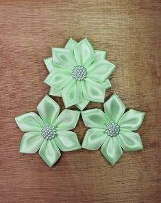 Set of 3 Mint Green Ribbon Flowers, Handmade Craft Flowers Craft Flowers, Flower Crafts, Green Ribbon, Ribbon Bows, Fancy Bows, Blue Crafts, Decorative Bows, Blue Gift, Simple Flowers