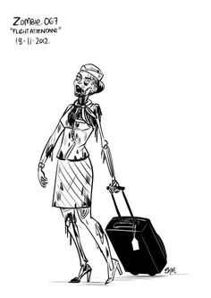 The Walking Dead - Zombie Flight Attendant - at times it seems like this!  :)