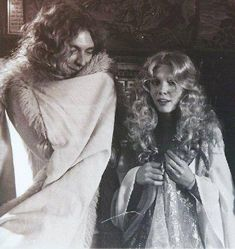Robert Plant and Virginia Parker, who played the fair maiden, during the making of the fantasy sequence for The Song Remains the Same.
