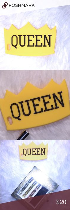 Queen Phone Case Phone case is for IPhone 6. Brand new and in the package. Yellow with bold,black lettering.  Reasonable offers accepted. Statement piece fit for a queen.  Don't leave home without your crown!  ✨Reasonable offers accepted! Free gift with bundles, host Pick purchases or a total of $20 or more. ✨ Accessories Phone Cases
