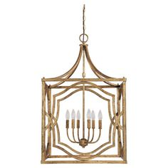 Cast a warm glow in your entryway or master suite with this eye-catching pendant, showcasing an antique gold finish and candle-inspired bulbs. ...