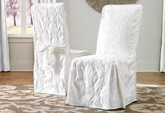 Matelasse Damask Long Dining Chair Cover - Get Stylishly decorated for the holidays