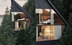 Pointed roofs and blackened wood cladding will characterise these treehouses, designed by Peter Pichler Architecture for a forest in the Italian Dolomites. Architecture Design Concept, Architecture Durable, Sustainable Architecture, Parametric Architecture, House Architecture, Green Design, Larch Tree, Wood Cladding, Forest House
