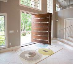 porte d'entrée bois verre design intérieur idée lumière naturelle