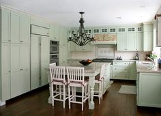Mint u-shaped kitchen with eat-in island. This is what I was thinking for our house since we won't have much room.