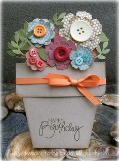 Another version of the potted flowers card. I like the addition of the buttons.