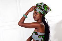 Turban ou écharpe en tissu africain Wax