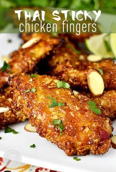 Gluten-Free Thai Sticky Chicken Fingers are crunchy, sticky, and irresistible – perfect for game day!  Capital Duh-eyeing over today's recipe for gluten-free Thai Sticky Chicken Fingers, which are going to be a smash hit at your Super Bowl watching party...