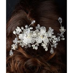 Unik Occasions Pearl & Bead Double Flower Hair Comb ($35) ❤ liked on Polyvore featuring accessories, hair accessories, flower hair comb, flower hair accessories, pearl hair accessories, hair comb accessories and beaded hair combs