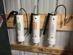 Grease gun holder, pvc pipe, French cleat