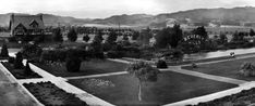 1920 – View looking northeast near the intersection of Santa Monica Boulevard and N. Beverly Drive showing Beverly Hill's iconic Tudor Revival Park Way house (upper-left) and famous lily pond in Beverly Gardens Park with its original electrified Beverly Hills sign.