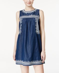 As U Wish Juniors' Embroidered Chambray Shift Dress