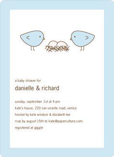 Nesting Birds Twins Baby Shower Invite