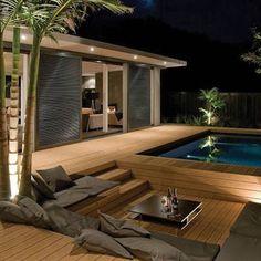 sunken hot tub patio designs | Sunken deck