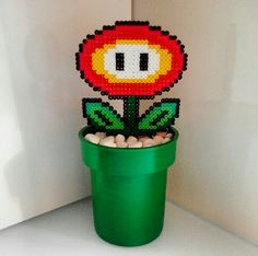 Mario flower hama perler beads by daniperezo Melty Bead Patterns, Pearler Bead Patterns, Perler Patterns, Beading Patterns, Perler Bead Mario, Peler Beads, Melting Beads, Fuse Beads, Bead Art