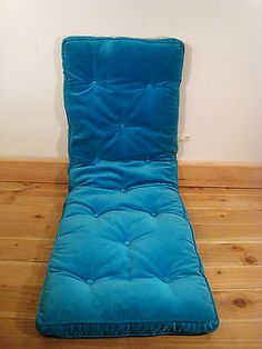 Vintage Sears Decorator Cushion Aqua Blue Velour Chair Pad Chaise Lounge Quilted | eBay