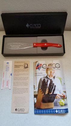$45.95 Cutco Spreader Spatula 1768KM  Double D Blade Classic Red Swirl Handle Etched #Cutco