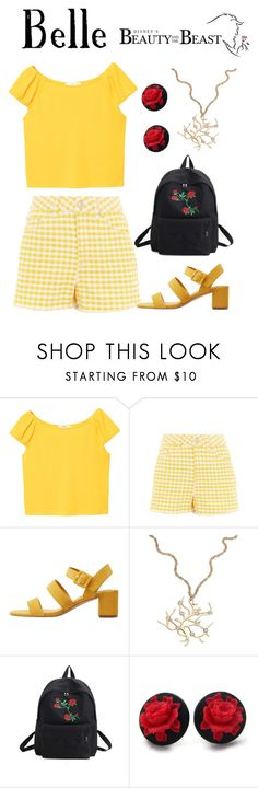 """""""Belle / Beauty and the Beast"""" by waywardfandoms ❤ liked on Polyvore featuring MANGO and Topshop"""