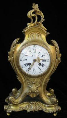 Antique French Bronze Gilt Mantle Clock Retailed by Tiffany