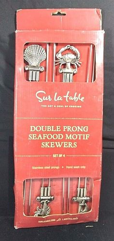 Sur LA Table Set of 4 BBQ Grill Stainless Steel Double Prong Seafood Skewers New…
