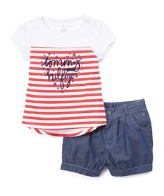 Another great find on #zulily! Red & White Stripe Tee & Shorts - Infant & Kids #zulilyfinds