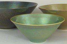 Jean Meinhardt's metallic glazes on porcelain include crystalline glazes.