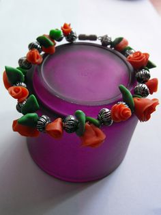 Romantic polymer clay braclet by JourneyToAFantasy on Etsy