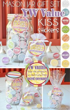 Printable Hershey KISS Stickers for YW Values - great handout or favor for YW in Excellence or New Beginnings.  Use as a lesson treat or birthday gift as well! Ideas: Mason Jar, Favor-Sized Organza Bag or Clear Cocktail Cup #LDS #mycomputerismycanvas