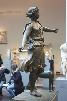 Bronze Statue of Artemis and a Deer. Late Hellenistic or Early Imperial ca. 1st Century BC - 1st Century AD