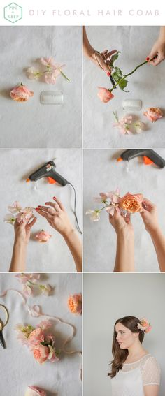 DIY: FRESH FLORAL HAIR COMB PASTEL PEACH | http://www.mariannetaylorphotography.co.uk