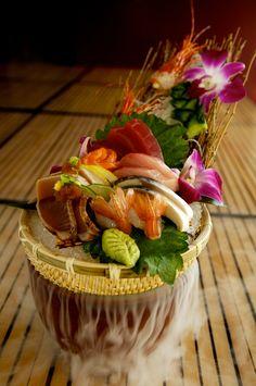 Sashimi Combination: assorted sashimi with maguro, hamachi, sake, katsuo tataki, shime saba, ama ebi & crispy ama ebi head