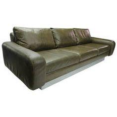 Sofa in Original Leather, circa 1960