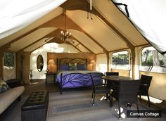 Glamping, Canvas Cabin Camping, Lakedale Resort Glamping San Juan Islands,  WA. Now