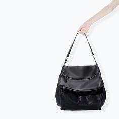 ZARA - SHOES & BAGS - ZIP APPLIQUE LEATHER BUCKET BAG